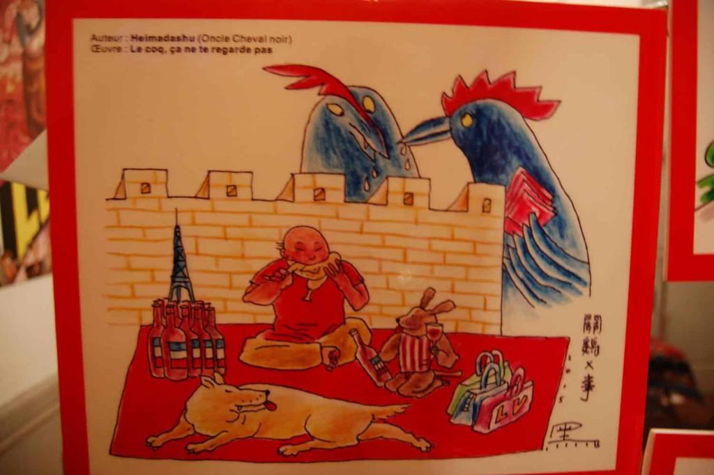 """Un des dessins donnés par les auteurs chinois aux dessinateurs de Fluide Glacial, en réponse amicale à la polémique concernant leur Une sur """"Le Péril Jaune""""."""